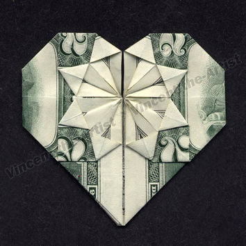 Two Dollar Bill Origami HEART - Great Gift Idea - Made from Real Money