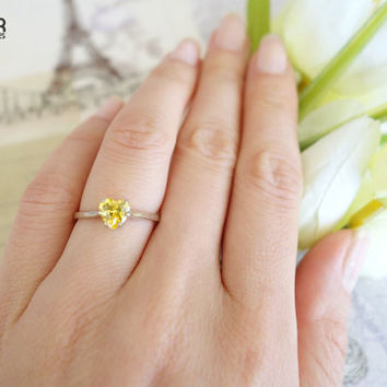 1 Carat 6mm Solitaire Heart Engagement Ring, Canary Yellow Diamond Simulant, Wedding, Bridal, Promise Ring, Sterling Silver, 14k Gold Option