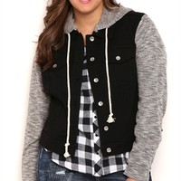 Plus Size YMI Black Denim Jacket with Knit Sleeves and Detachable Hood