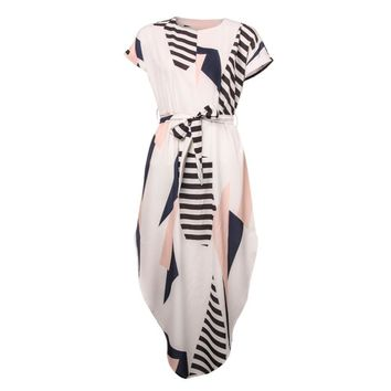 Summer Style Printed Maxi Dress With Belt