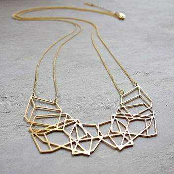 Long Composition Necklace, Geometric necklace, signature necklace, Architectural jewelry,