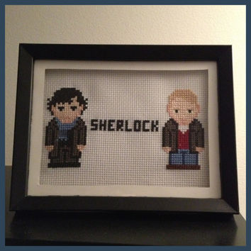 Sherlock Cross Stitch Picture Framed