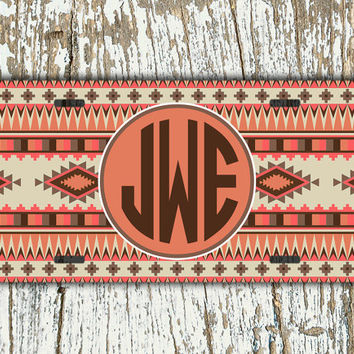 Monogrammed front license plate navajo car tag - Corals and browns aztec pattern - tribal monogram car tag vanity monogrammed gift (1262)