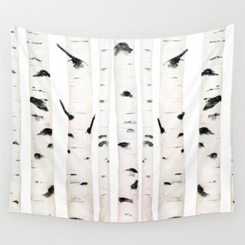 birch watercolor Wall Tapestry by Color And Color