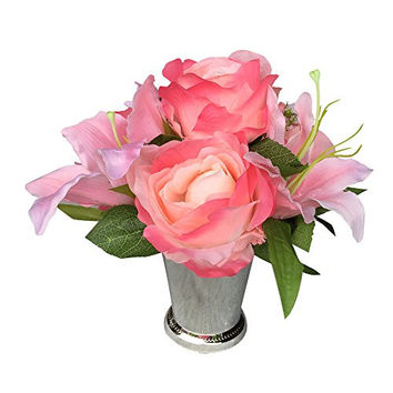 Set of 4-silver Vase Centerpiece-artificial Roses with Lily and Greenery