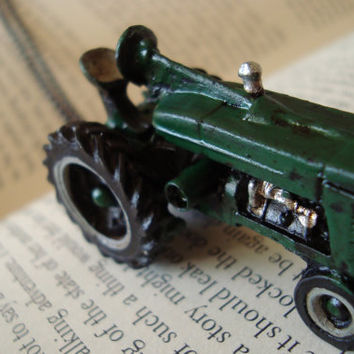 John Deere inspired Green Tractor pendant necklace by AshleysCharm