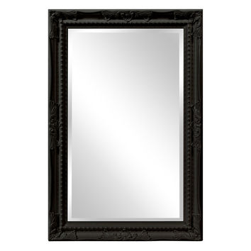 "Howard Elliott Queen Ann Rectangular Glossy Black Mirror 24"" x 36"" x 1"""