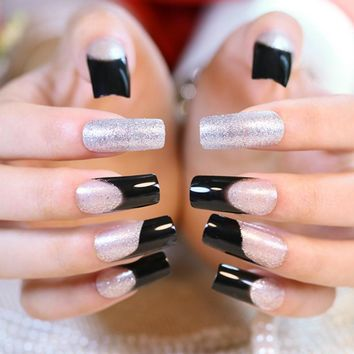 24pcs Shimmer Glitter French False Nail Bling Long Silver Acrylic Nails Black Perfect for Party with Glue Sticker Z396