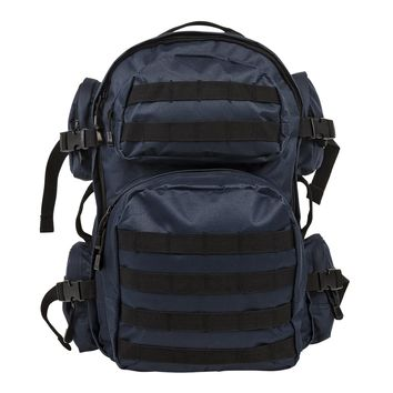 Tactical Backpack w/ Multiple Compartments & Molle Webbing - Blue w/ Black Trim