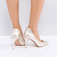 Ted Baker Saviy Gold Heeled Court Shoes at asos.com