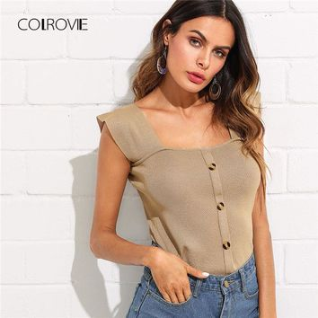 Button Front Knit Streetwear Vest Top New Summer Square Neck Slim Fit Plain Women Tank Top Khaki Casual Crop Top