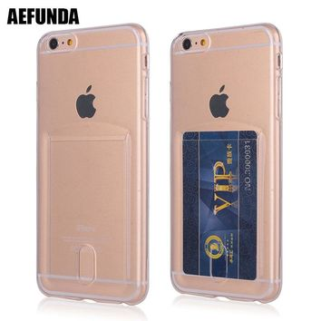 Credit Card Slot Holder Wallet Phone Case For iPhone 7 8plus X 10 Soft TPU Silicone Clear Cover For iPhone 6 6S 8 Plus Coque