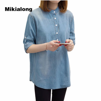 Mikialong Plus Size XL-5XL Camisa Jeans Feminina 2017 Spring Long Sleeve Tunic Denim Shirt Women Blue Loose Casual Blusas Mujer