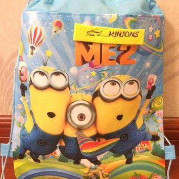 Boys Backpack Bag kids children minions bag tote  string shoe bag for sweaty clothes school bag for and girls to school runners AT_61_4