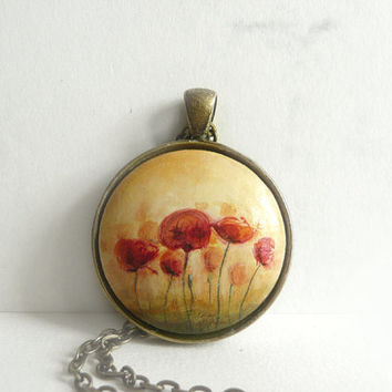 Hand painted Corn Poppies Necklace, Poppies Blooming, Vintage Look, Antique Bronze Setting and Chain, Fine Art Jewelry