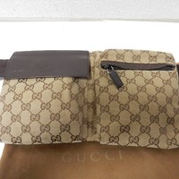 Auth Gucci Waist Belt Bag Purse GG Canvas Leather Brown Beige #28566 Pre-Owned