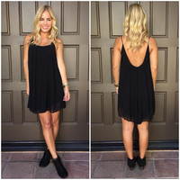 Melody Low Back Chiffon Dress - BLACK
