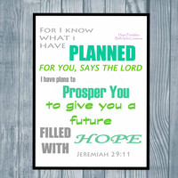 Bible Verse Instant Download Wall Art , Christian Bible Quote Printable Art , Typography Jeremiah 29:11 Print , Blue Green Word Print