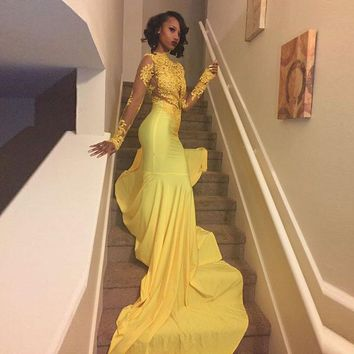 Sexy African Black Girl Yellow Mermaid Prom Dresses 2017 Court Train Appliques Lace Long Sleeve Prom