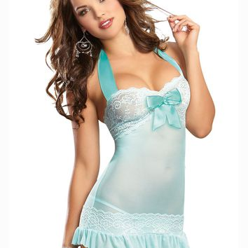 Aqua Allure Lace Garter Slip (Medium,Aqua)