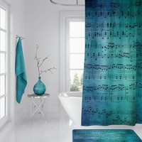 Blue Music Shower Curtain - teal and turquoise and sapphire sheet music fabric sing, musician bathroom home
