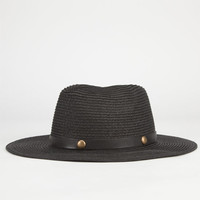 Stud Band Womens Straw Panama Hat Black One Size For Women 23464610001