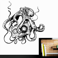 Wall Decal Vinyl Sticker Decals Art Decor Design Octopus Tentacles Fish Jellyfish Music Cassette Ocean Animals Bedroom Dorm Modern (r475)