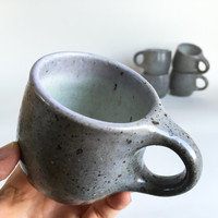MIDNIGHT GREY CUP 6 oz, ceramic, pottery, handmade, rustic, coffee, tea, hot, cocoa, chocolate, milk, water, chai, espresso, teacup