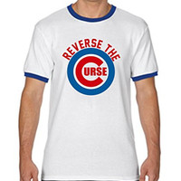 "WHITE RINGER Chicago Cubs ""Reverse The Curse"" T-Shirt ADULT 2XL"