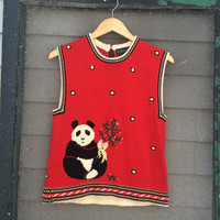 CUTE! Vintage urban hipster 80's 90's RAD red sweater knit top PANDA bear 1980s 1990s sweater kawaii