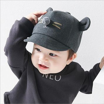 warm Baseball Cap Hat Kids Baby Boys Girls Adjustable Caps Fashion Korean Cartoon Cat Ears Beard Children Cute Hats 2016 New