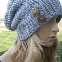 Light Gray Lavender Boho Slouchy Hand Knit Oversized Ribbed Woodsy Beanie Hat With Wood Buttons