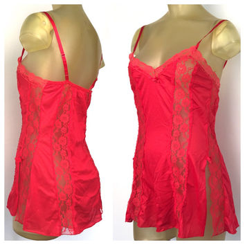 Red Lace Teddy, Vintage Lingerie Red Babydoll Teddy, Red Lingerie, Adjustable Straps Sexy Vintage Red Nightie, Lace Lingerie Mini Nightgown