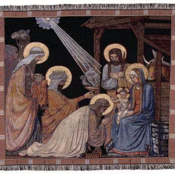 "Nativity Tapestry Throw Blanket - Approximate Measurements: 50 ""  X 60 """