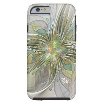 Floral Fantasy, Abstract Fractal Art Monogram Tough iPhone 6 Case