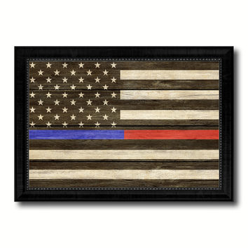 Thin Blue Line Police & Thin Red Line Firefighter Respect & Honor Law Enforcement First Responder American USA Flag Texture Canvas Print with Picture Frame Home Decor Wall Art