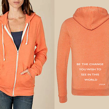 Eco True Orange Unisex Eco-Fleece Full-Zip Hoodie – Be The Change You Wish To See in This World