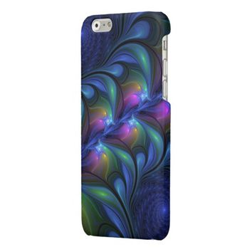 Colorful Luminous Abstract Blue Pink Green Fractal Glossy iPhone 6 Case