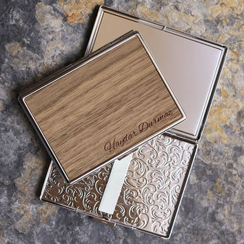 Personalized Walnut Veneer Cigarette Case/ Custom Name Engraved