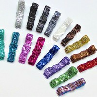 Glitter Hair Bow Clips in many colors and come on alligator clips with an add no slip grip-Your Final Touch Hair Accessories