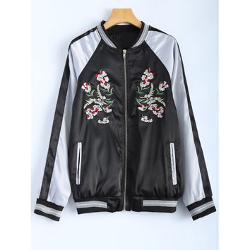 Color Block Flower Embroidered Souvenir Jacket