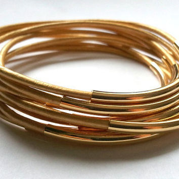 Gold Leather Bangle Bracelet with Gold Accents-Boho Bracelet, Bohemian Jewelry, Wrap bracelet, stackable bracelets