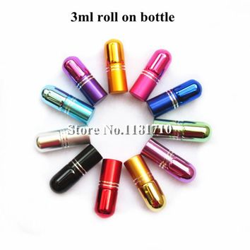 12pcs/lot 3ml Glass Roll On Bottle Mini Essential Oil Bottle Refillable Tiny Perfume Glass Vials 7Colors Free Shipping