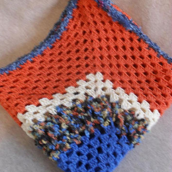 Scrappy Lap Blanket Crochet Small Blanket Throw Orange Blue Beige Mix Colors
