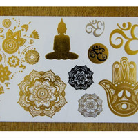 Metallic Yoga Gold and Silver Tattoo Set