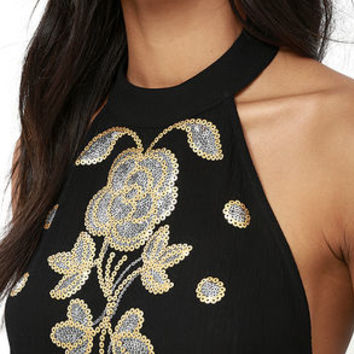 Mellifluous Black Backless Sequin Top