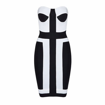 White And Black Rayon Strapless Mini Dress