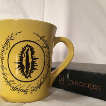 Tolkien LOTR Eye of Sauron funny yellow mug, Sauron, See you later, punster nerdy gift