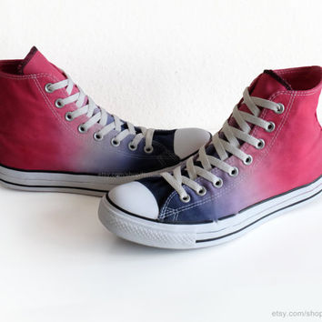Cherry red to indigo blue ombre dip dye Converse, upcycled All Stars, transformed vintage Chucks, size eu 41.5 (UK 8, us wo's 10, us mens 8)