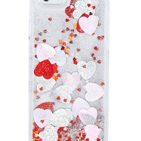 iPhone 6/6S Pink/Red Heart Glitter Case